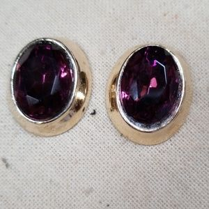 Vintage Faux Amethyst Goldtone Pierced Earrings